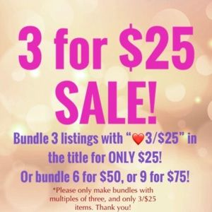 ❤️3 FOR $25 SALE!❤️JUST LOOK FOR THE ❤️EMOJI!!!